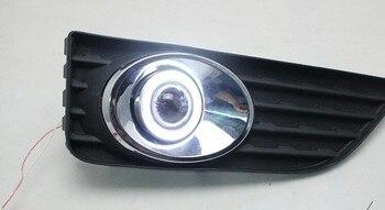 eOsuns COB angel eye led daytime running light DRL + halo Fog lamp + Projector Lens for toyota camry 2012-13 sport