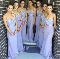 Сиреневые 2019 дешевые платья подружки невесты до 50 расклешенное бандо с кружевной цветами Длинные свадебные платья для женщин в подружки не