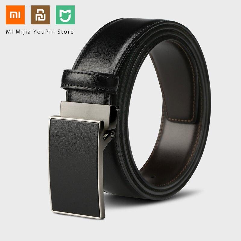Expressief Originele Xiaomi Mijia Zeven-zijdig Italiaanse Riem Lederen Dubbelzijdig 3.5 Cm Twee-kleur Dubbelzijdig Cut Lengte Business Riem Bevorder De Productie Van Lichaamsvloeistof En Speeksel