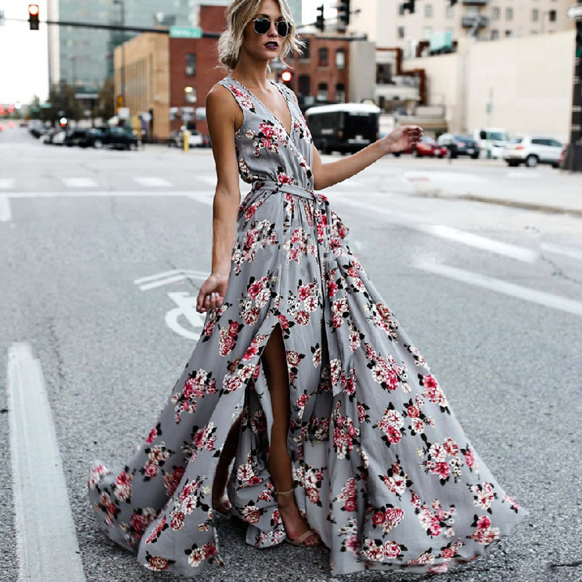 Summer Autumn Maxi vintage Dress 2018 new Women Floral Print Strap Boho Dress V Neck Sleeveless Side Split Sexy Long Loose Dress