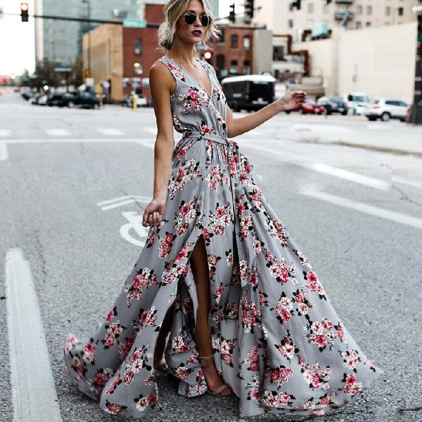 Verão Outono Cinta Boho Maxi Vestido 2018 new Mulheres da Cópia Floral do vintage Vestido Com Decote Em V Sem Mangas Side Dividir Sexy Longo Solto vestido