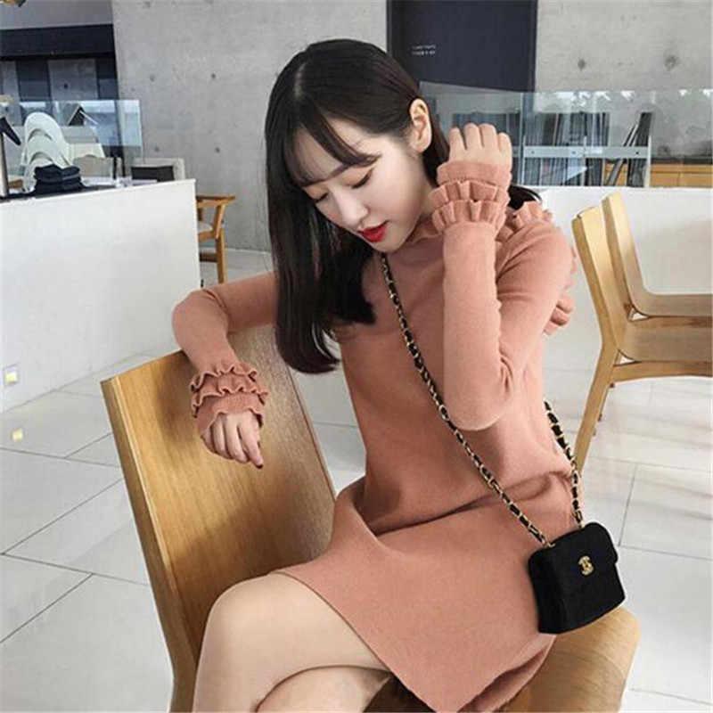 Новые модные женские осенне-зимние вязаные платья-свитера с Флокированным теплым низом Женское Платье Falbala Толстый Пуловер Vestido K0018