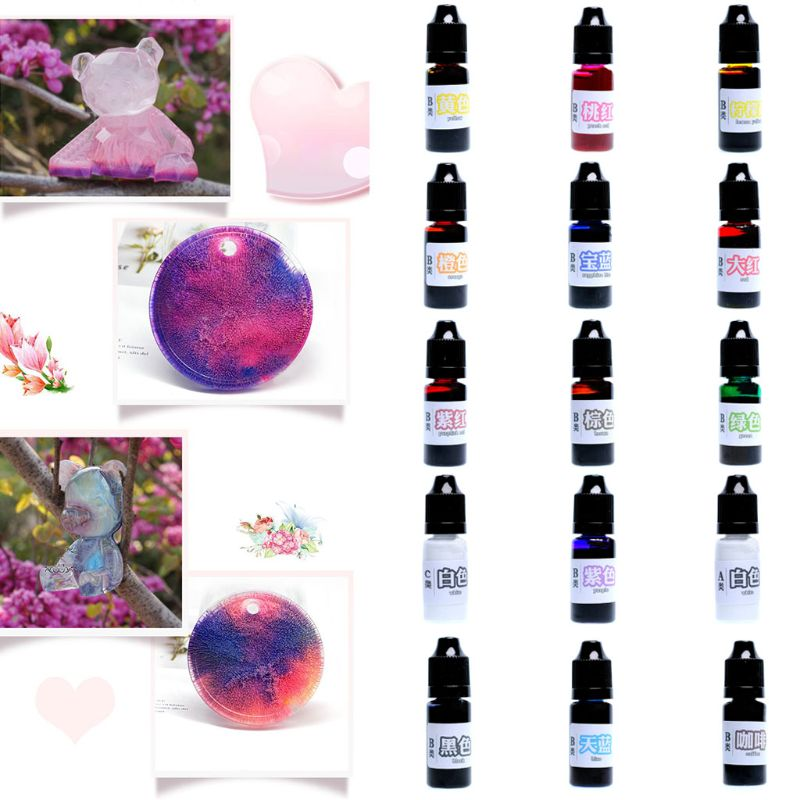 15Colors/set 10 Ml Epoxy Resin UV Dye Coloring Pigment DIY Crafts Arts Handmade Accessories