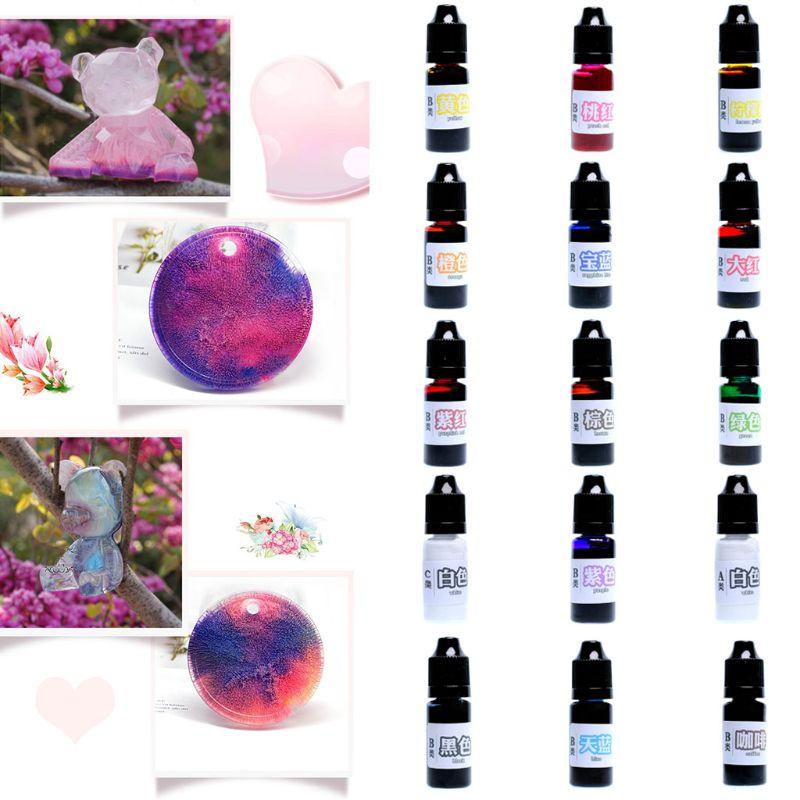 15Colors/set 10 Ml Epoxy Resin UV Dye Coloring Pigment DIY Crafts Arts Handmade Accessories