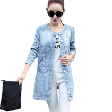 2017 New Fashion Women Long Denim Jacket Spring Autumn Single Breasted Thin Jackets Casual Coat Slim Basic Jeans Outerwear AB085
