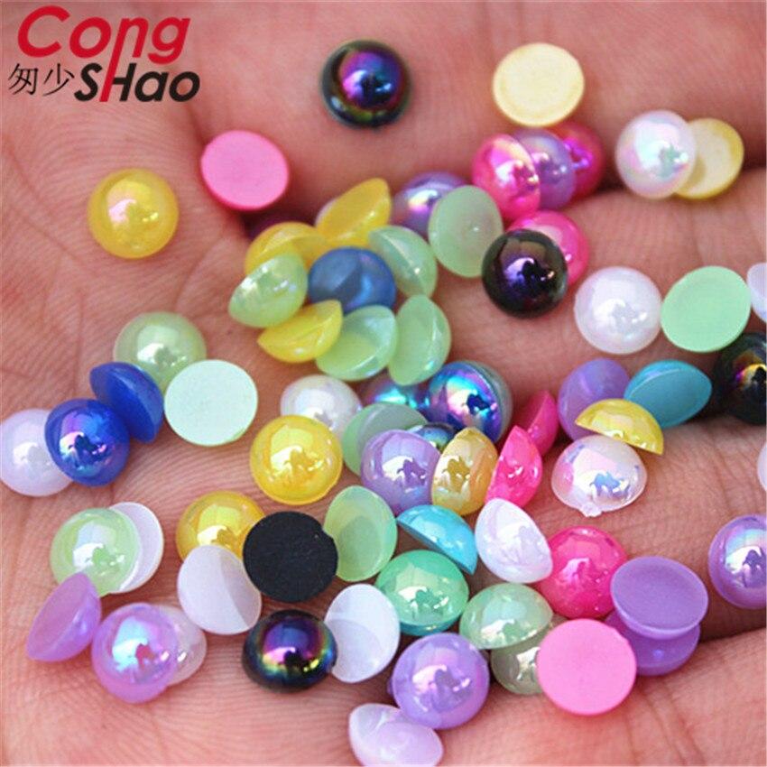 Cong Shao 300PCS 6mm AB colorful DIY 3D Nail Art Tips Round Acrylic Rhinestone  Flatback not 3b8e136264b9