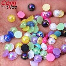 Cong Shao, 300 шт, 6 мм, AB, цветные, сделай сам, 3D, для маникюра, Типсы, круглые акриловые стразы, плоские с оборота, не исправляют ногти, ремесло, украшение ZZ588