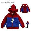Мода зима человек паук 2-11age детская одежда мультяшном стиле 100% хлопок ребенок кардиган outerwearFREE доставка