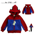 Fashion winter Spiderman 2-11age children's clothing cartoon style 100% cotton fleece child cardigan baby outerwearFREE SHIPPING