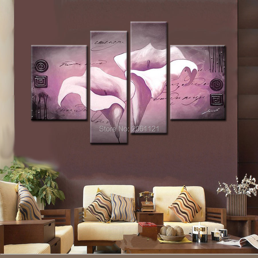 Modern hand painted canvas oil painting pancy lilac violet Lilac living room ideas