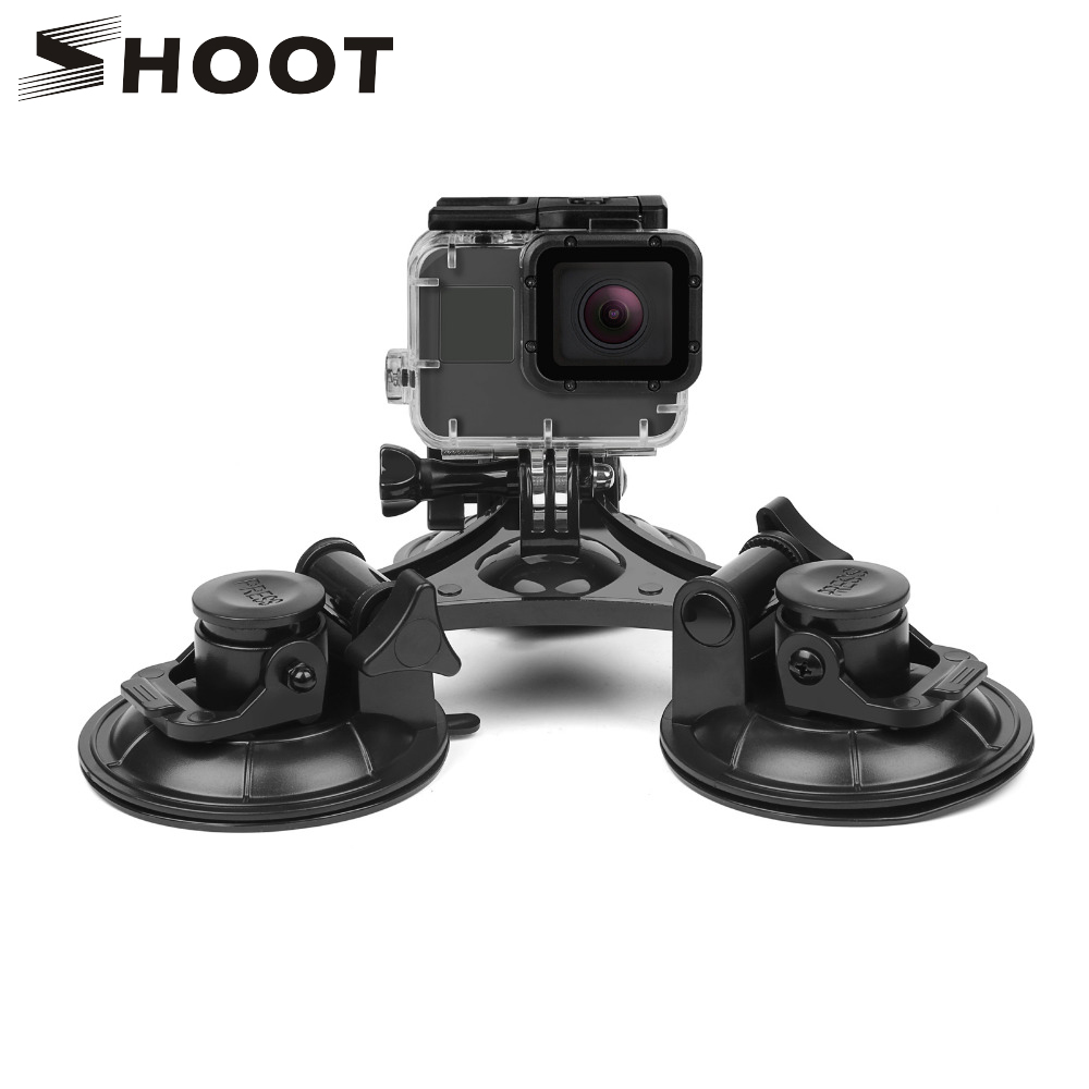 SHOOT Large/Small Size Car Windshield Suction Cup for GoPro Hero 6 5 7 Session Sjcam H9 Yi 4K Action Camera Tripod Holder Mount universal mini car mount holder w suction cup for gopro hero 4 1 2 3 3 black
