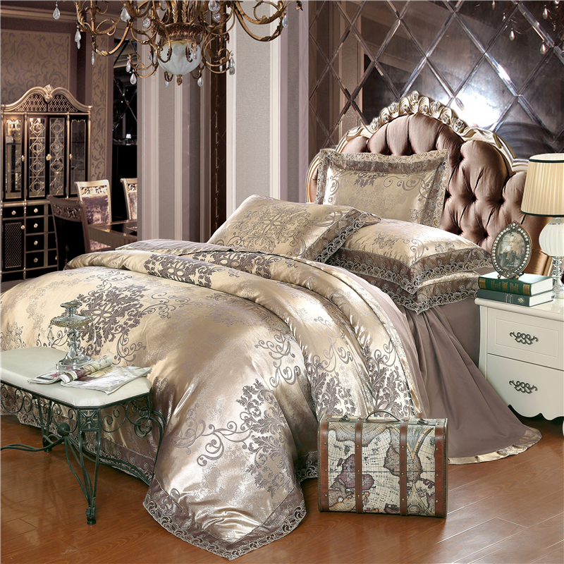 Wit zilver koffie jacquard luxe beddengoed set queen / king size bed set 4 stks katoen zijde kanten dekbedovertrek Hoeslaken / laken sets