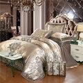 Wit zilver koffie jacquard luxe beddengoed set queen/king size bed set 4 stks katoen zijde kant dekbedovertrek ingericht/laken sets