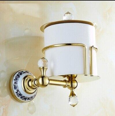 High Quality Gold Paper Holder Bathroom Tissue Box Waterproof Brass Toilet Paper Roll Holder