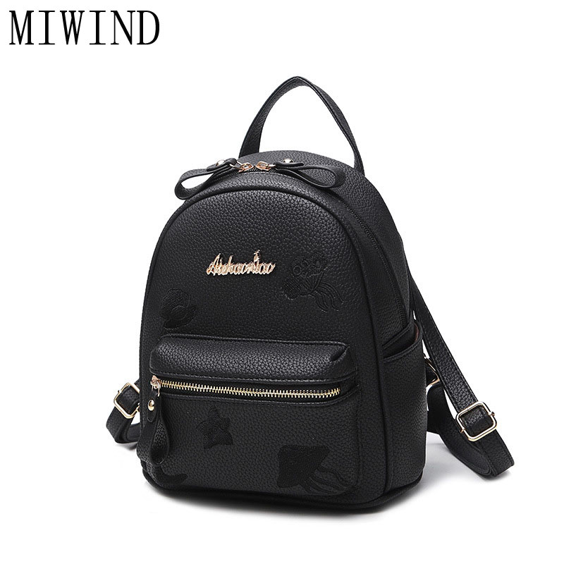Women Backpack Small Size Black PU Leather 2017 Shoulder Bag Casual Fashion Famous Brand mochilas For Girl School Bag TWM326 women backpack fashion pvc faux leather turtle backpack leather bag women traveling antitheft backpack black white free shipping