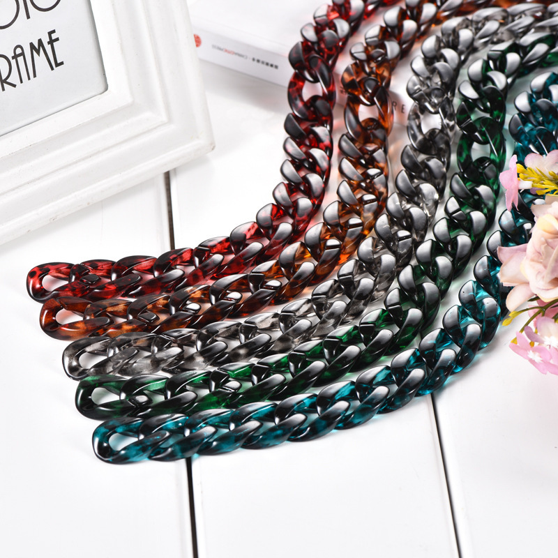 Foreign Trade Second Gram Force Chain Necklace Woman Bag Chain Resin Straps DIY Ornaments Parts Acetic Acid