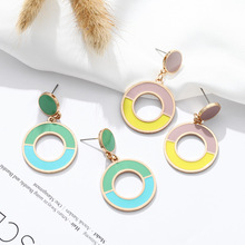 Hello Miss Summer Fashion Small Fresh Earrings Color Acrylic Circle Stud Contrast womens earrings