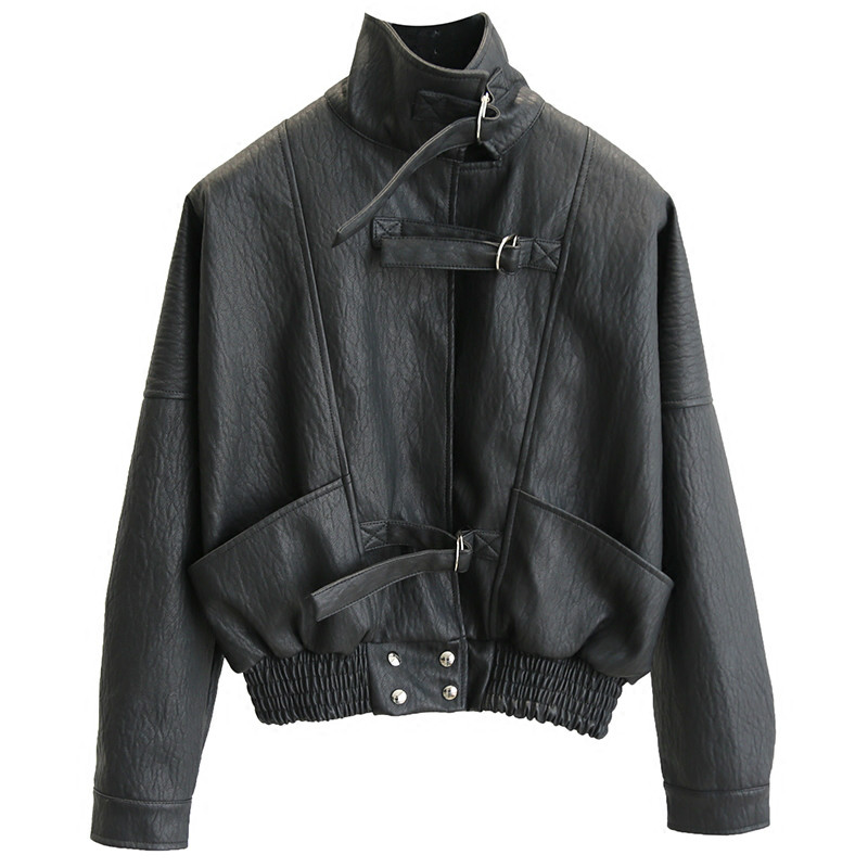 2019 Autumn Women PU Outwear Punk Bomber Jackets Harajuku Faux   Leather   Jacket Batwing Sleeve Loose Biker Coat Casual