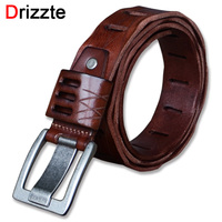 Drizzte Belt Plus Size 130 150CM Full Grain Leather Belts Mens Buckle Vintage Brown Genuine Leather