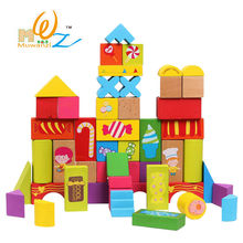 Купить с кэшбэком Birthday gift box, 52PCS grain of large blocks, wooden educational toys, scenario building blocks, baby toys