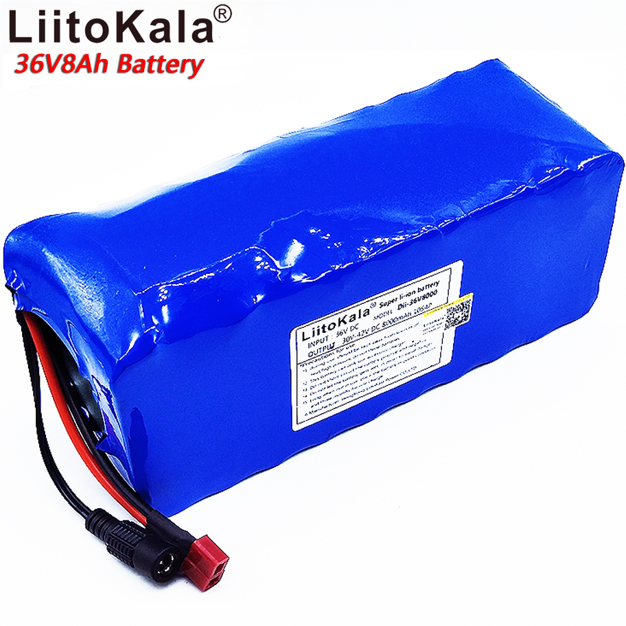 LiitoKala 18650 Lithium Battery 36V 8AH Electric Bicycle Battery 500W with PVC Housing for Electric Bicycle 42V 2A Charger hot sale bottom discharge electric bike 36v 8ah li ion battery 36v 8ah electric bicycle silver fish battery with charger bms