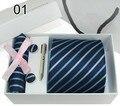 Frete Grátis Preço de Atacado Laços Para Homens Poliéster Vestido Set tecido Ties Set Tie + Botão de Punho + Tie clip + Lenço + Gift Box lxy487