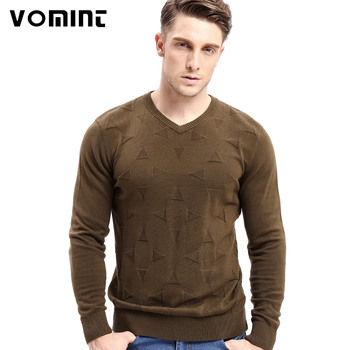 Vomint Brand Cotton Mens Sweaters V neck Top Dyed Sweaters Pullover man Solid Color Class Style Knitwear O6VI6C53