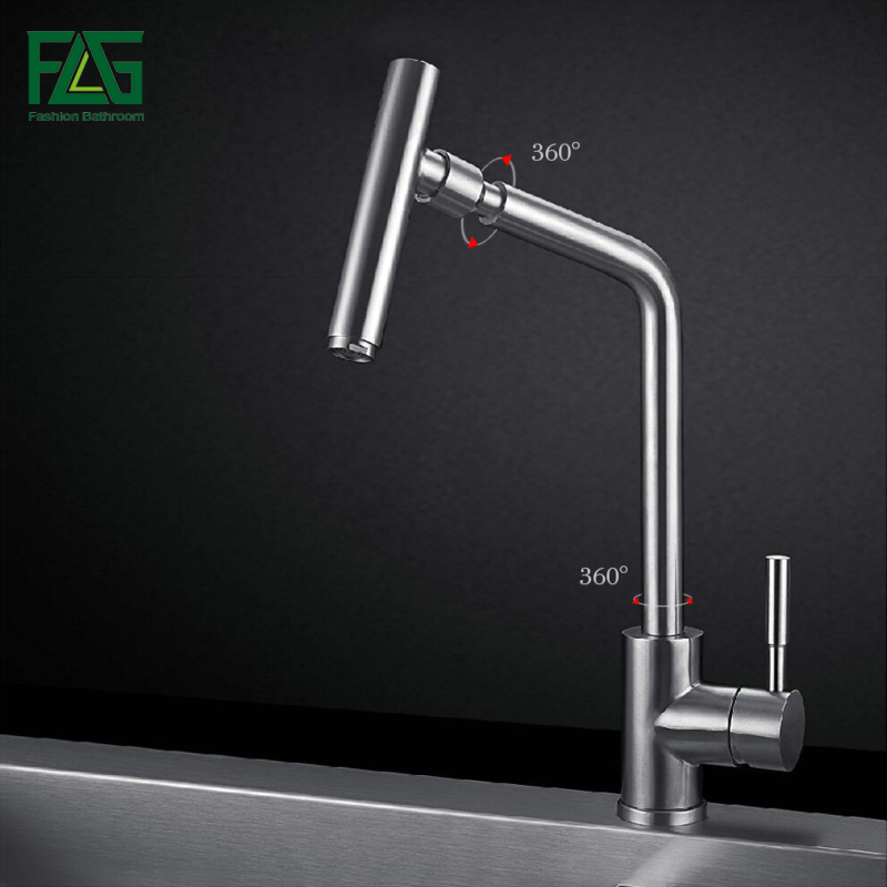 FLG Kitchen Faucet 304 Stainless Steel Mixer Tap 360 Degree Rotating Spout Deck Mounted Vegetable Washing Sink Water Tap CS011 марвин гэй marvin gaye trouble man motion picture soundtrack lp