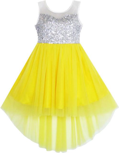 Ensolarado Flor Moda Vestido Da Menina De Lantejoulas Malha Partido Princesa Tulle Brilhante Brilho 2016 Verão Roupas Vestidos De Noiva Tamanho 7-14