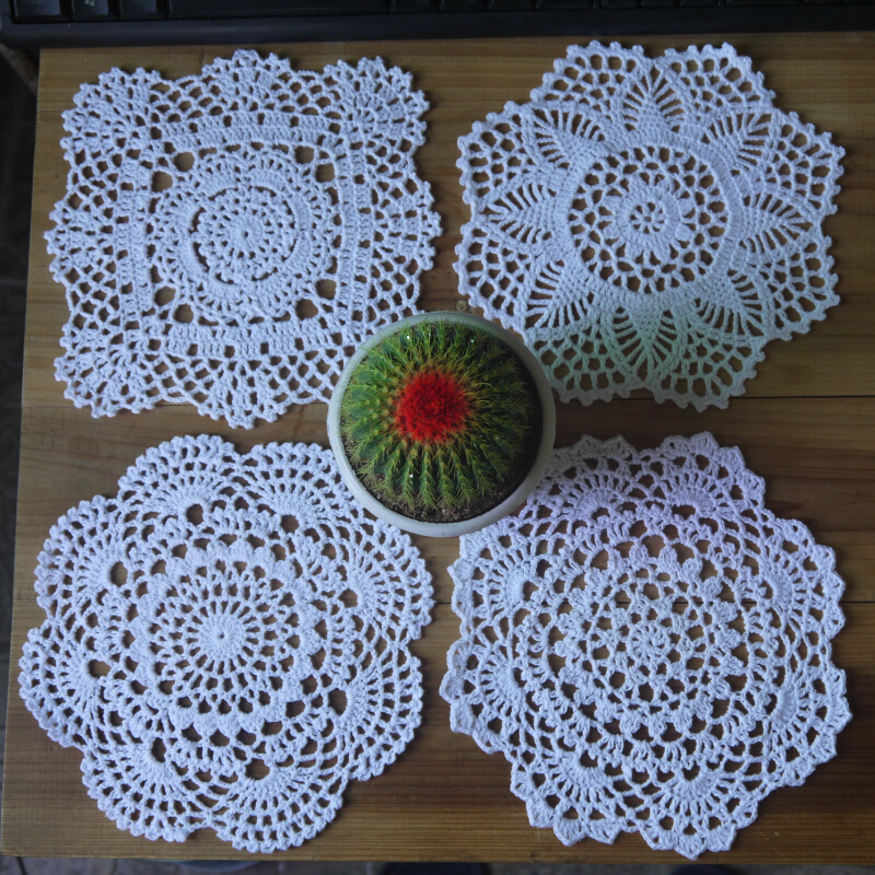 Free Shipping Crochet Doily Table Cover 20x20cm 4 Design