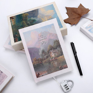 Image 3 - Scenery Retro A5 Diary Set with Lock Notebook line Organize Cute Password Planner Travel Journal Stationery Gift Box Bujo 2020