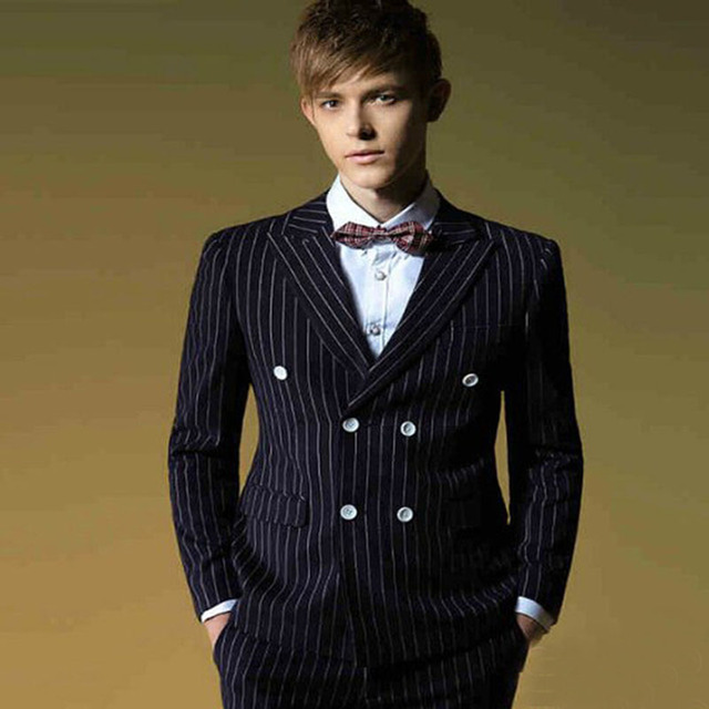 2017 Black Groom Tuxedo Pinstripe Costume Smoking Men Suit Dinner Double Ted Wedding Custom Made Mens