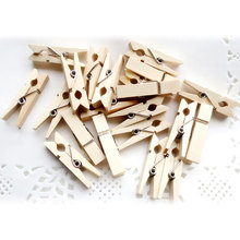 50Pcs/Pack Photo Clothes Clip Wooden Dormitory Natural Wood Paper Pin Peg