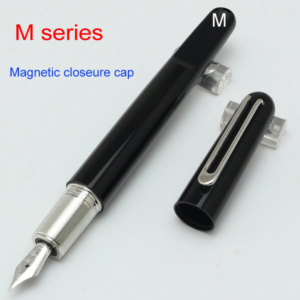 US $29 8 |Luxury M series Marc Newson Monte pen Fountain with Magnetic cap  ,Hot MB PEN 14 K nib Black resin pens for writing-in Fountain Pens from