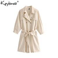 Vintage Stylish Double Breasted Playsuits Women 2019 Fashion Safari Style Pockets Sashes Short Jumpsuits Casual Bodysuit Femme