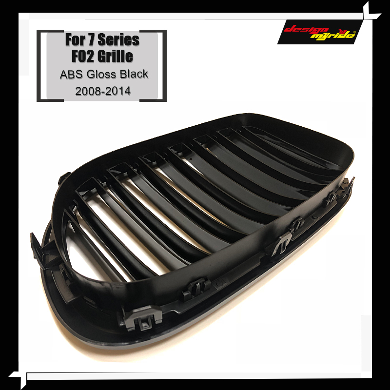 F02 Front Grille ABS Gloss Black For F02 2 Slats Grills M Style 740i 740Li 745i 750i 760Li Front Bumper Kidney Grille 2008 2014 in Racing Grills from Automobiles Motorcycles