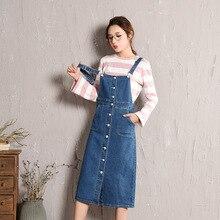 0b14dec22ff34 New Fashion Women s Bib Overalls Denim Skirts Slim Midi Jeans Skirts Woman  Cotton Blue Front Button