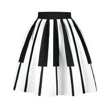 3752e0701 2019 Winter Piano Music Note Melody Print High Waist Pleated Satin Flared  Midi Women Skirts Tutu