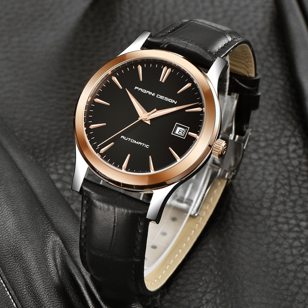 HTB11ddmClmWBuNkSndVq6AsApXay 2019 new Ultra-thin simple classic men mechanical watches business waterproof watch luxury brand genuine leather automatic watch