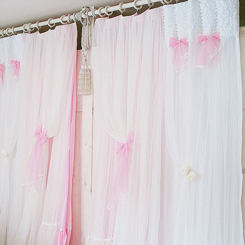 princess whitepink curtain lace window curtains bedroom living room window screening finished curtain 100cm260cm 2pcslot