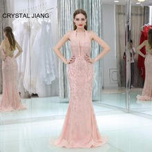 CRYSTAL JIANG 2018 Sexy Halter Heavy Mermaid Dress