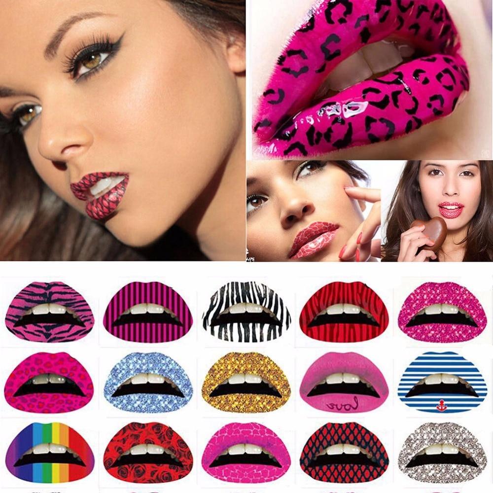 3 Pcs Temporary Lips Tattoo Sticker Lipstick Art Transfers Many Designs Colorful Fancy Dress Party Lip Makeup Random Color