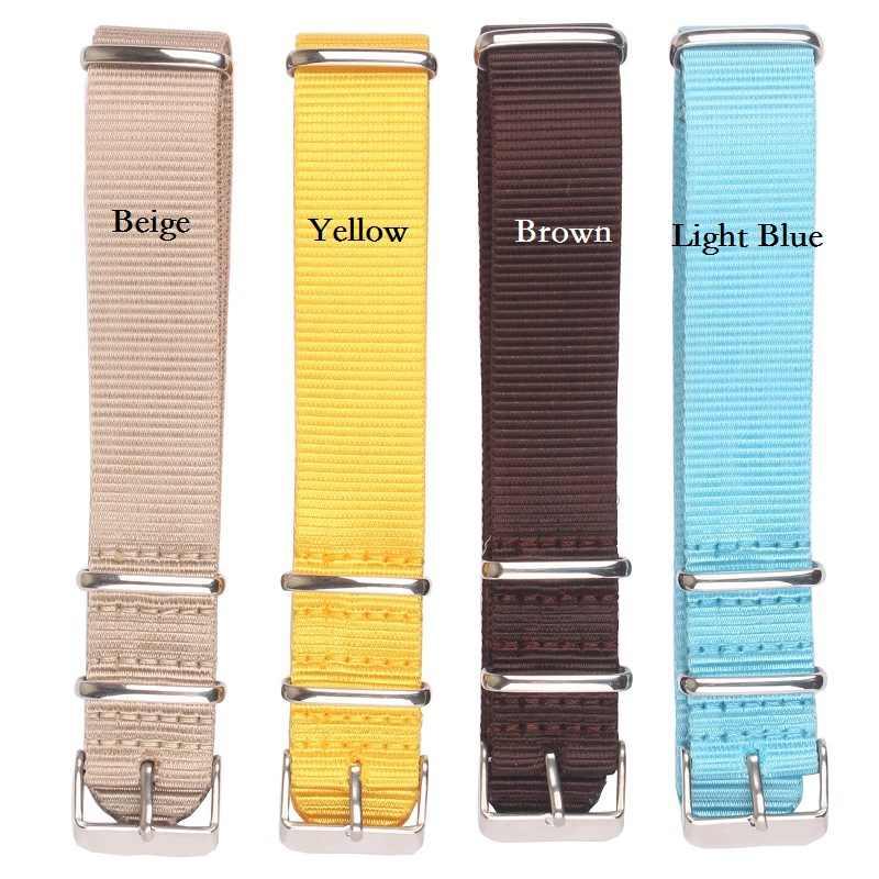 Sterke 18mm 20mm 22mm Effen Kleur Zwart Leger horlogeband Nylon Nato Horloge Band rvs gesp stof