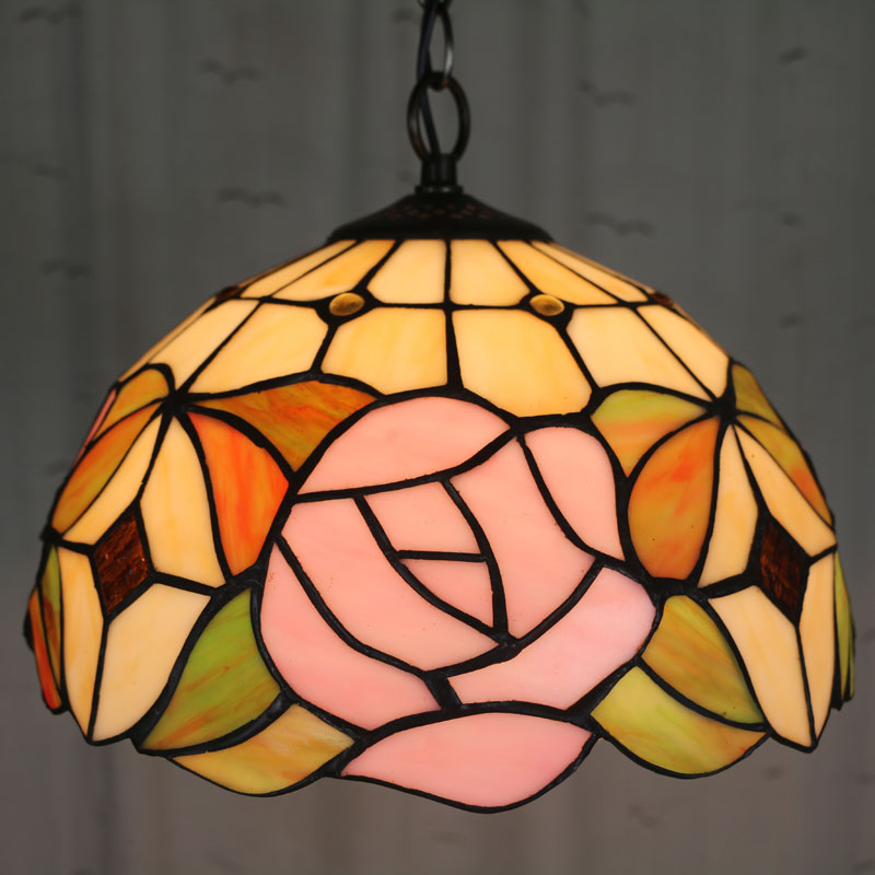 10 Inch   Country rose Tiffany pendant light Country Style Stained Glass Lamp for Bedroom E27 110-240V 16inch tiffany style rose glass pendant light bedroom study color glass lamp e27 110 240v