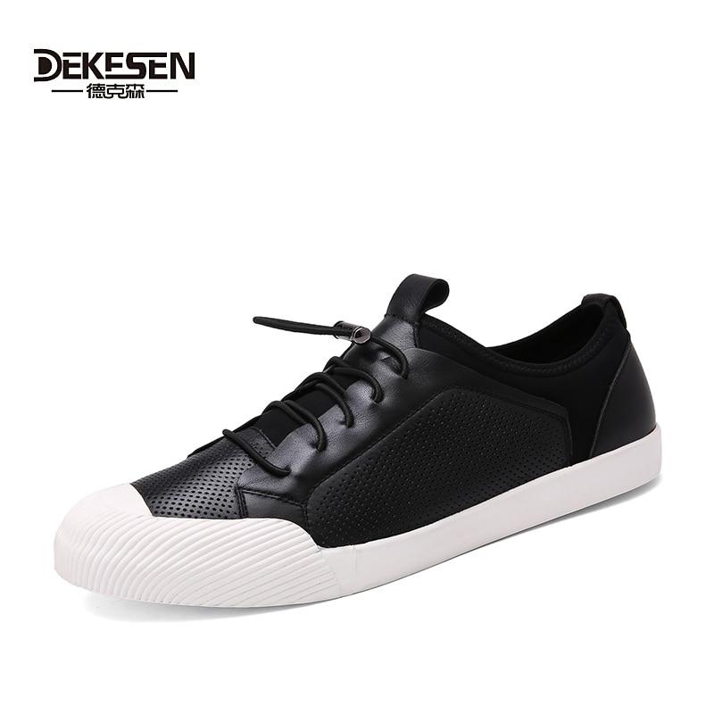 Здесь можно купить   DEKESEN Help to sleep Retro Style Men 100% Genuine Leather Shoes, High Quality Man Breathable Casual Shoes, Summer Casual Shoes Обувь