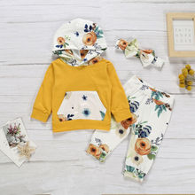 Newborn Kid Baby Girl Clothing Set Flower Hooded Tops Long Sleeve Pants Flower Cute Outfits Clothes Sets Baby Girls цена и фото