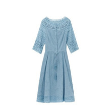 Lace dress summer 2019 women new a-line slim temperament half sleeve fashion