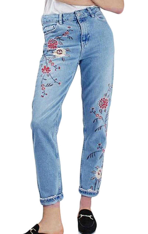 Abetteric font b Women s b font Blue Embroidered floral Denim Skinny Denim font b Jeans