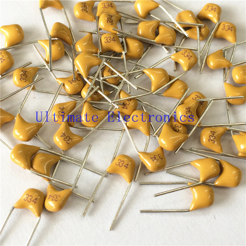 100pcs/lot  Multilayer Ceramic Capacitor 0.33uF 334 50V 330nF 334M P=5.08mm