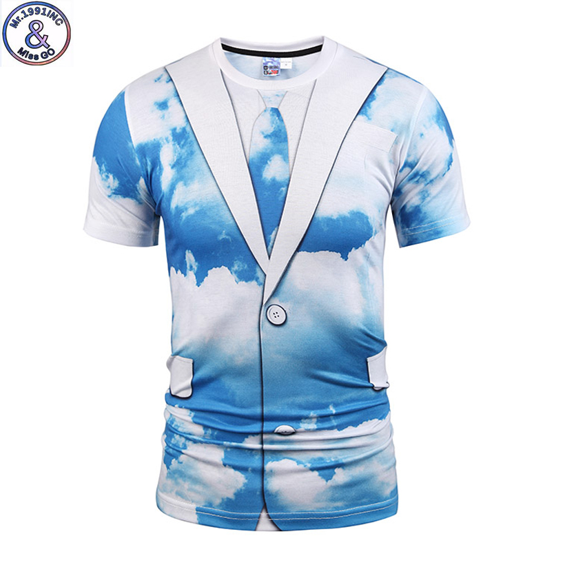 Mr.1991 brand special original design Blue sky printed 3D t-shirt for boys or girls big kids t shirts 12-20 years teens tops A53